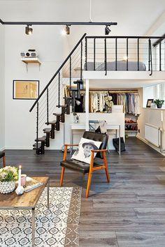 lustre industriel, appartement avec mezzanine
