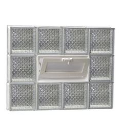 Redi2set Diamond Pattern Frameless Replacement Glass Block Window (Rough Opening: 36-In X 24-In; Actual: 34.75-In X 23.2