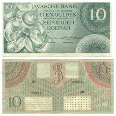 De Javasche Bank 1946 - 10  Gulden/Roepiah. Old Money, Java, Vintage World Maps, Indie, Entertaining, Logo, History, Money, Stamps