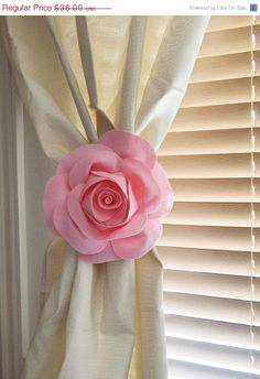 NEW YEARS SALE Two Rose Flower Curtain Tie Backs by bedbuggs