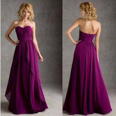 2016 Elegant Floor-length Chiffon Ruching Sweetheart A-line Purple Bridesmaid Dresses