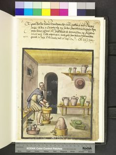 1605 CE. The Barefoot Hafner (potter) sitting in front of his work wheel and forms a jug. Next to him on the bench are three chunk of clay ready to be finished jars on the shelf on the bench and wall board ready. At the bottom are two green, ready glazed stove tiles, a large lump of clay in a shallow basket with a two catchy parting knife and left in a shallow basket two pitchers finished with Pewter mounts.