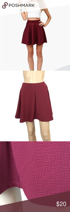 Burgundy quilted skater skirt Like new - no signs of wear in any sense. no rips, stains, pilling or pulls. thick material - not sheer in any sense. size medium - will fit size small - medium due to this never being stretched out. Skirts Circle & Skater