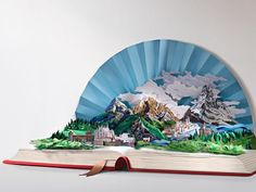 pop up book with a paper fan sky