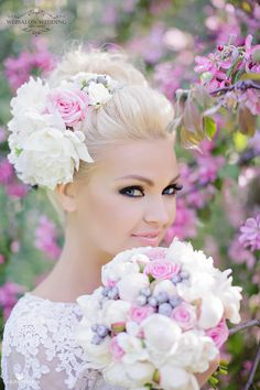 soft updo with a gorgeous floral bridal headpiece - so pretty!  ~  we ❤ this! moncheribridals.com