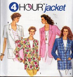 Simplicity 8301, Misses Sizes 10 to 16 Jacket Pattern, Optional Lining, Notched Collar, Single Button Closing, Long or Short Sleeves by OnceUponAnHeirloom on Etsy