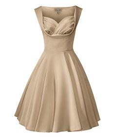 Look at this #zulilyfind! Gold Octavia A-Line Dress - Plus Too #zulilyfinds  65% off pin up dresses