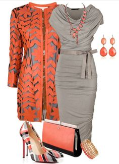 See more Orange long jacket, grey blouse, high heel shoes and hand bag for ladies