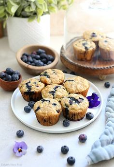 Gluten-Free Blueberry Oat Muffins   Delightful Mom Food Gluten Free Blueberry Muffins, Gluten Free Oats, Gluten Free Flour, Gluten Free Baking, Blue Berry Muffins, Baking Cookbooks, Dairy Free Yogurt, Baking Flour, Frozen Blueberries