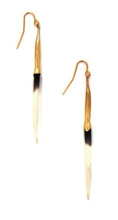 Bionic Brass Quill Earrings by K/LLER
