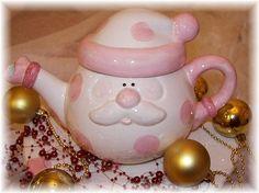 Christmas Tea Pot Santa in Pink by Angelheartdesigns on Etsy, $42.00