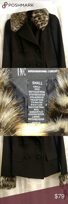 INC CONCEPTS coat INC CONCEPTS Short wool coat with faux fur... Double breasted..Faux fur will fool you... nice look...New with tags...Very nice!  Size small... Completely adorable! INC International Concepts Jackets & Coats Pea Coats