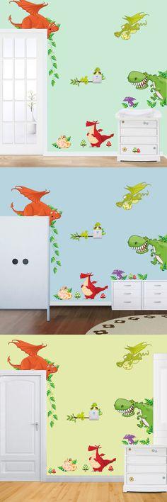 New 5 Cute Dinosaur Medium vinyl Cartoon Wall Stickers Creative Wall sticker for kids room DIY Home Decoration $9.98