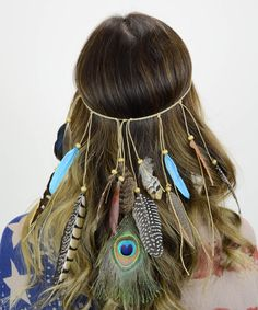 Leto Collection Turquoise Cascading Feather Headband