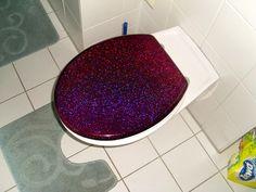 purple glitter toilet seat