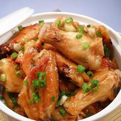 Slow cooker Polynesian glazed wings. Chicken wings with spices and soy sauce cooked in slow cooker.