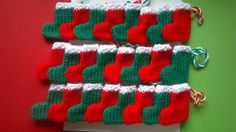 Advent Calendar Christmas Stockings  24 x red and green Hand Knitted FREE uk P&P Ebay id cathys987