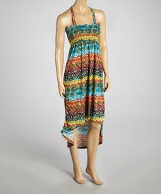 Take a look at this Orange & Blue Ring-Back Hi-Low Dress on @zulily today!