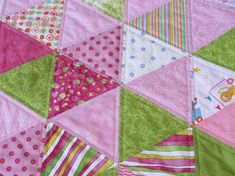Pink and Green Triangles Baby Girl Quilt, Scrapy Quilted Baby Blanket, Nursery Bedding, Baby Shower Gift