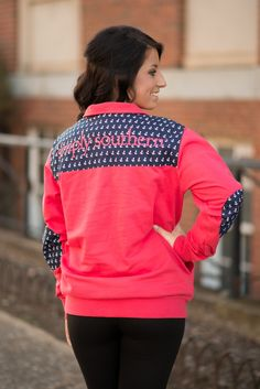 Simply Southern Coral Anchor Pullover