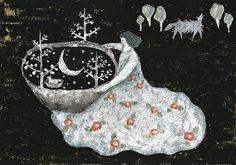 'Playing with moon' by Tetsuhiro Wakabayashi - Illustration from Japan Potnia Theron, Japanese Artists, Heart Art, Naive, Folk Art, Fairy Tales, Art Drawings, Original Paintings, Art Gallery