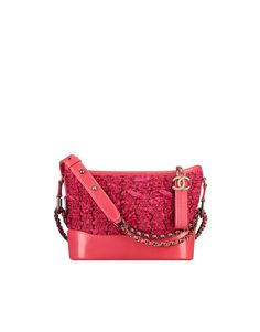 CHANEL's GABRIELLE small hobo bag, tweed, calfskin, silver-tone & gold-tone metal-pink - CHANEL