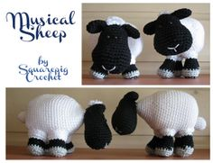 It's a cute little sheep that can be used to cuddle but also plays music! It's easy to make and can vary every time by using different colors. The patterns is written in English. It's Easy, Cuddle, Plays, Sheep, Crochet Hats, English, Colors, Music, Muziek