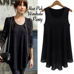 Chiffon Sleeveless Tank Top Blouse Women chiffon blouse. Sleeveless black tank top. New! Boutique Tops Blouses