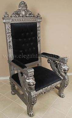 Carved Mahogany King Winged Lion Gothic Throne Chair Silver and Black | eBay