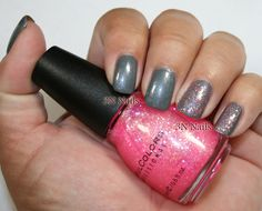 3N Nails: Sinful Colors Slate and Pinky Glitter