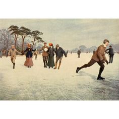English Sport 1903 Skating Canvas Art - Unknown (24 x 36)
