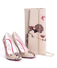 Another great find on #zulily! White & Pink Flower Goddess Pump & Clutch by Goby #zulilyfinds
