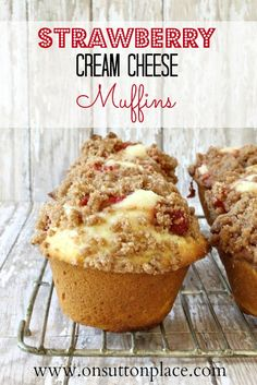Strawberry Cream Cheese Muffins Recipe. so far the best muffin I have ever had! fill the muffin tins half full, they will be big enough once you add the cream cheese filling. Makes 12.