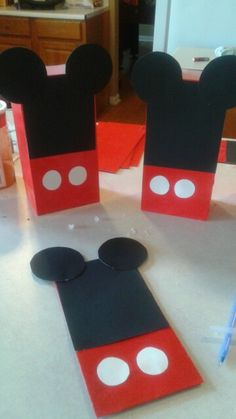 D.I.Y Mickey mouse party bags  Something I did for my son birthday party.