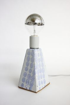 Image of Final Sale: Blue Dot/White Glaze Lamp, Small
