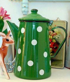 I love this green with white polka dot enamelware coffee pot. #enamelware #green…