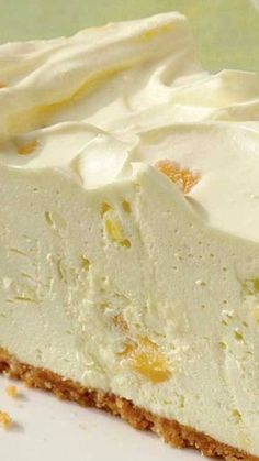 No-Bake Pineapple Cheesecake ~ so creamy! No-Bake Pineapple Cheesecake ~ so creamy! Pineapple Cheesecake, Baked Pineapple, Pineapple Pie, Pineapple Dessert Recipes, Crushed Pineapple, 13 Desserts, Delicious Desserts, Yummy Food, Baking Desserts