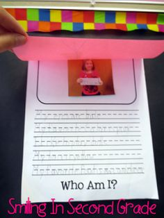 Students write a little bit about themselves. You lift the flap to see who it is. Great for open house.