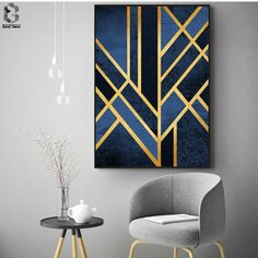 Abstract Classic Art Deco Wall Art Gold Blue Geometric Nordic Design Fine Art Canvas Prints Pictures For Office Home Interior Living Room Decor Wall Art canvas wall art Art Deco Wall Art, Art Mural, Wall Art Decor, Room Decor, Art Art, Art Deco Paintings, Gold Wall Art, Home Decor Paintings, Gold Art