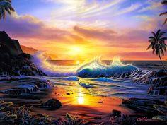 Christian Lassen, artist ~ sunset ~ beach ~ waves