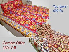 Combo Double Bed Sheet Single Bed Sheet with Pillow Cover Cotton Red Multicolor