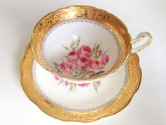 Pink Roses in Gold, EB Foley Tea Cup and Saucer, Bone China Tea Cups, Antique Teacups, Pink Roses Cups, Teacup and Saucer, Pink Gold Cups