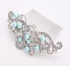 Crystal Pearl Ocean Aqua Blue Wedding Hair Comb Prom Bridal Bridesmaid Hairpiece beach Wedding Hair Combs Headpiece Jewelry Accessory
