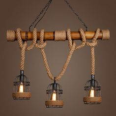 Vintage Pendant Light Bamboo Three Head Rope Pendant Lamp Industrial Bar Cafe Restaurant hanging lamp light up Fixture - Bar Deko Ideen