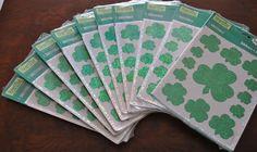 10x Hallmark Heartline Prismatic SHAMROCK Stickers St. Patrick's Day #Hallmark