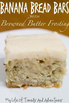 Banana Bread Bars with Browned Butter Frosting | www.mylifeoftravelsandadventures.com | #Dessert #Banana #Bread