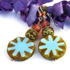 Rustic Blue Star Earrings Handmade Czech Glass Peach Copper Beaded | @shadowdog - Jewelry on ArtFire
