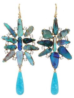 Irene Neuwirth Boulder Opal Turquoise Earrings - Jewelry Gallery At Marissa Collections - Farfetch.com