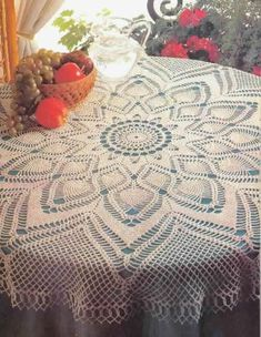 Crochet Table topper has pattern and graph. Also check out all the other crochet doilies and table toppers….. Great site
