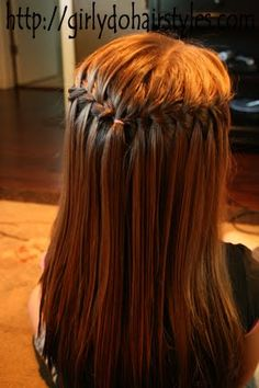 waterfall braid- Not hard, but also not a good look on Annie's thin hair. I would love to try this braid on Maggie when her hair grows out.